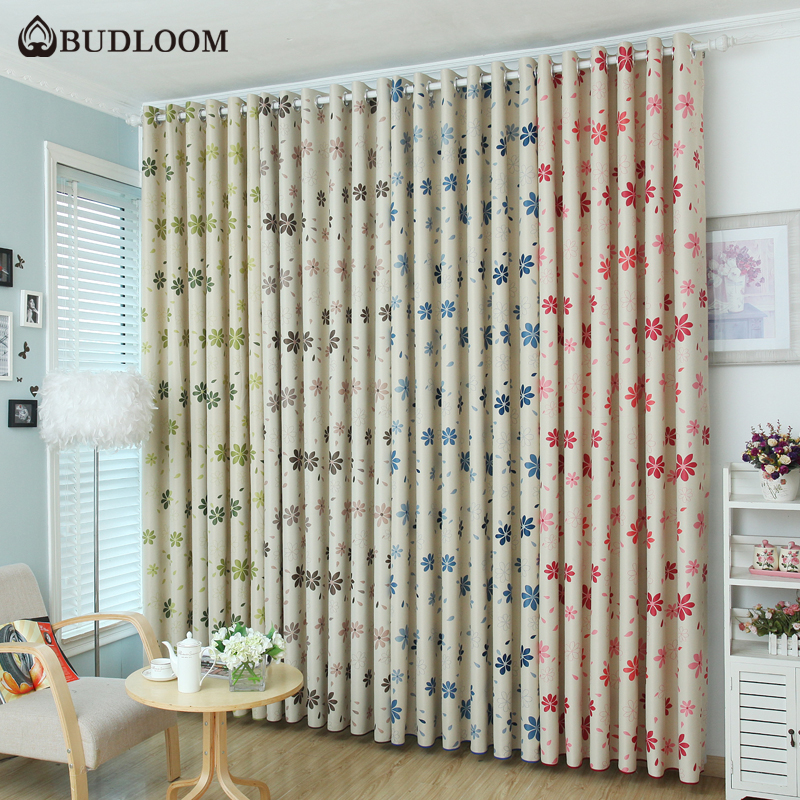 Budloom Flowers Blackout Curtains For Bedroom 4 Colors Floral Curtains For Living Room Kids Room Blue Red Brown Window Drapes