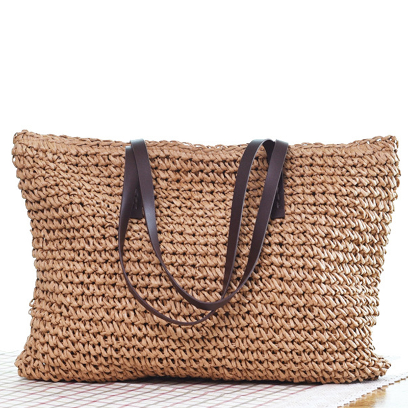 Saco de palha bohemia bolsa de praia