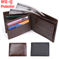 MRF7 2016 new men wallet RFID blocking , zippper coin pocket ,100% top grain cow leather wallet men