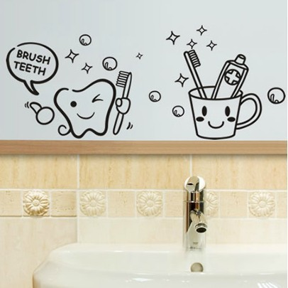 creative funny wall stickers bathroom glass door stickers cute children shower sticker waterproof and removable
