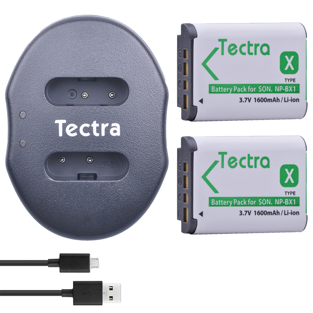 Tectra 2 pcs NP-BX1 NPBX1 Li-ion Batterie pack + USB Double Chargeur pour Sony DSC-RX100 RX1 HDR-AS15 AS10 HX300 WX300 NPBX1 NP BX1