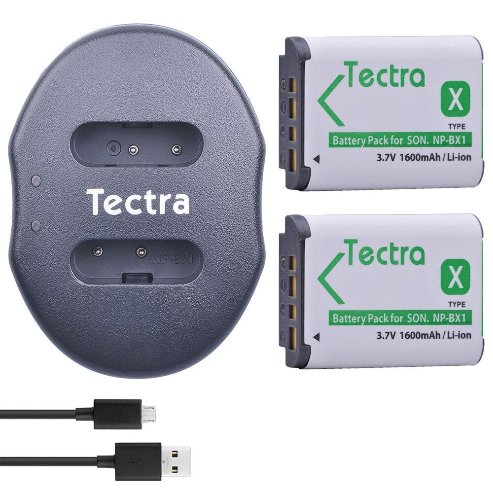 Tectra 2 unids NP-BX1 NPBX1 li-ion batería + USB cargador dual para Sony DSC-RX100 RX1 HDR-AS15 AS10 HX300 WX300 NPBX1 NP BX1