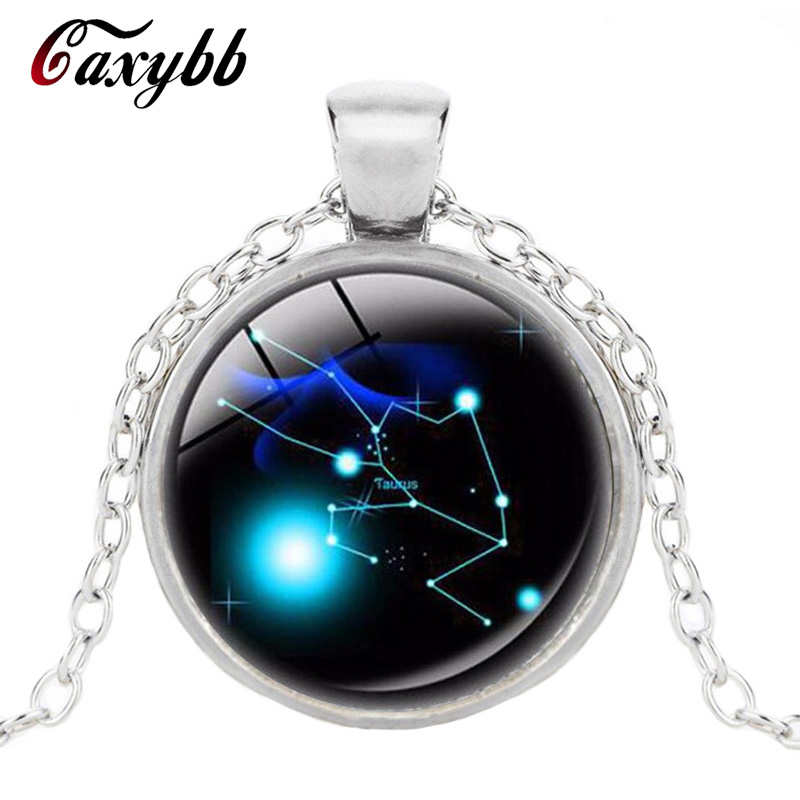 Caxybb Store  Gaxybb Zodiac pendant cabochon crystal necklace fashionable Constellation necklace  Horoscope Astrology silvrt necklace