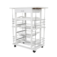 Four layer Kitchen Trolley Cart Dining Shelf Island with Wine Rack Basket Storage Drawers with Universal Wheel Ship From FR HWC