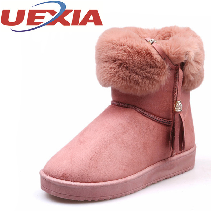 Winter Women Snow Boots Plush Warm Fringe Style Boots Outdoor Casual Ankle Platform Boots Slip Ons Women High Top Cotton Botas