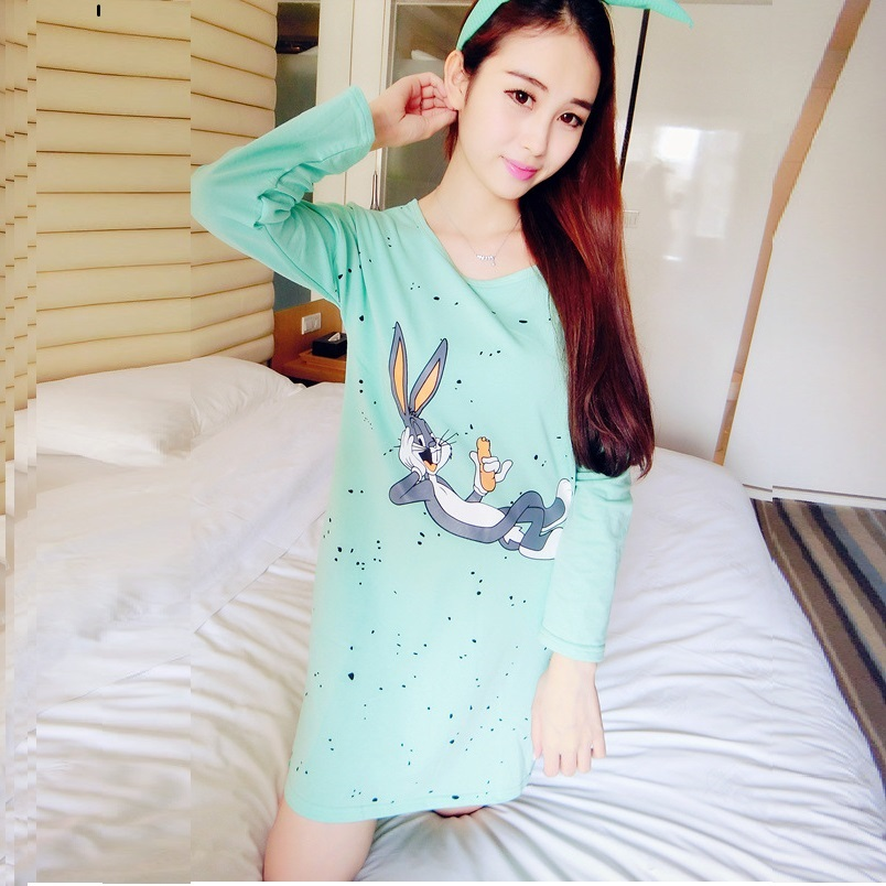 Nuisette 2015 winter female new korean cute cartoon bunny cotton nuisette 2015 winter female new korean cute cartoon bunny cotton long sleeved nightgown teens pijama 1391 camison in nightgowns sleepshirts from womens voltagebd Image collections