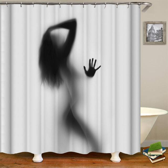 Sexy Lady Shadow Shower Curtain Nude Sexy Hot Girl Elegant Naked