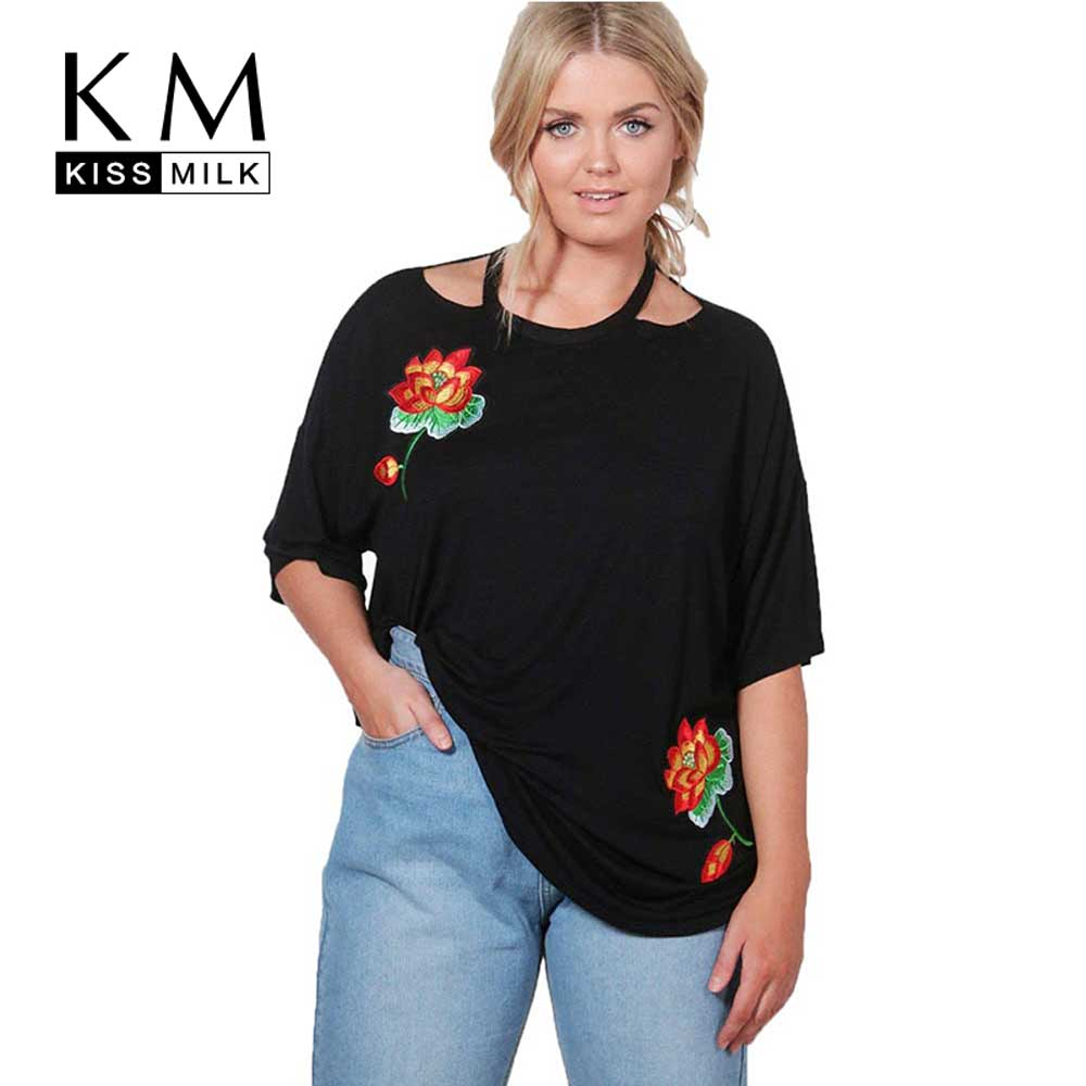 Kissmilk plus size women floral embroidery casual t shirt for Plus size 3 4 sleeve tee shirts