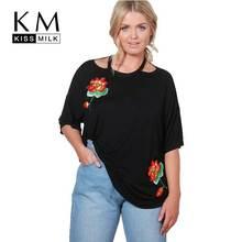 Kissmilk плюс Размеры Для женщин Цветочный Вышивка Повседневная футболка короткий рукав одноцветное Цвет краткое Для женщин топ базовый выдалбливают футболка