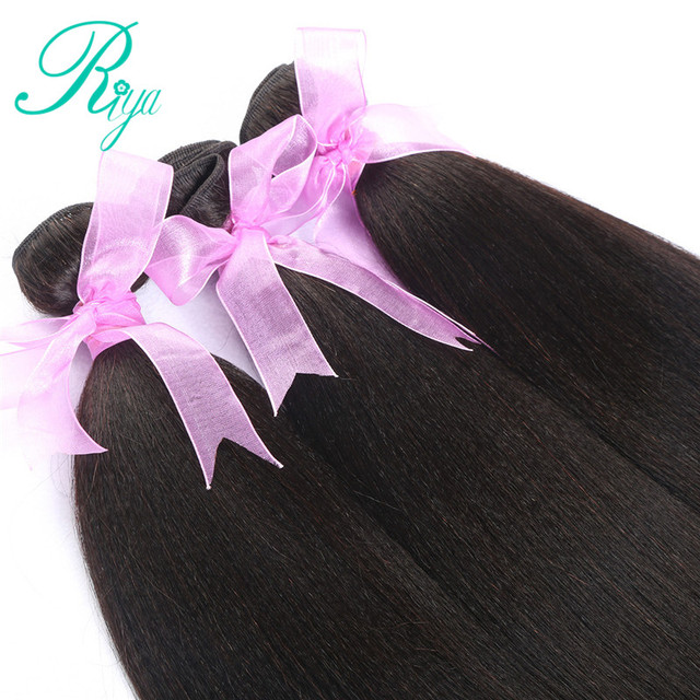 Riya Hair Brazilian Light Yaki Human Hair 3 Bundles 100% Human Hair Weave Natural Color 100% Remy Hair Extensions Free part