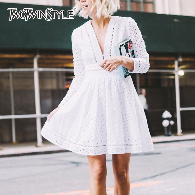 TWOTWINSTYLE Hollow Out Dress For Women V Neck Tunic High Waist Long Sleeve White Mini Tutu Dresses 2018 Spring Sweet Clothing twotwinstyle striped dress female deep v neck long sleeve slim bandage summer dresses for women hollow out ol style fashion tide