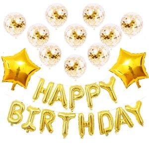 Image 5 - Conjunto de balões laminados de aniversário, kit de balões com letras de festa de aniversário infantil rosa de ouro feliz aniversário e crianças 16 Polegada