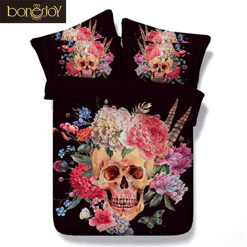 Bonenjoy 3d Skull Bedding Sheet Flower 3d Bed Linen China