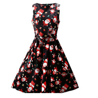 2017 Summer Dress Women Cotton Floral Print 50s 60s Vintage Dress Sleeveless Elegant Christmas Party Vestidos