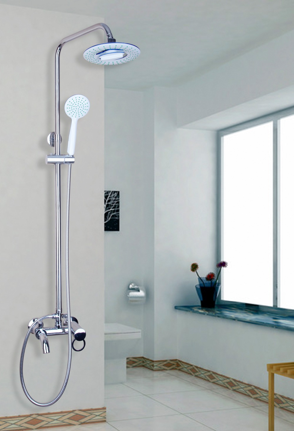 Hose for bathroom faucet - 53006 Double Function Bathroom Basin 8 Abs Shower Head Brass Valve Hand Spray