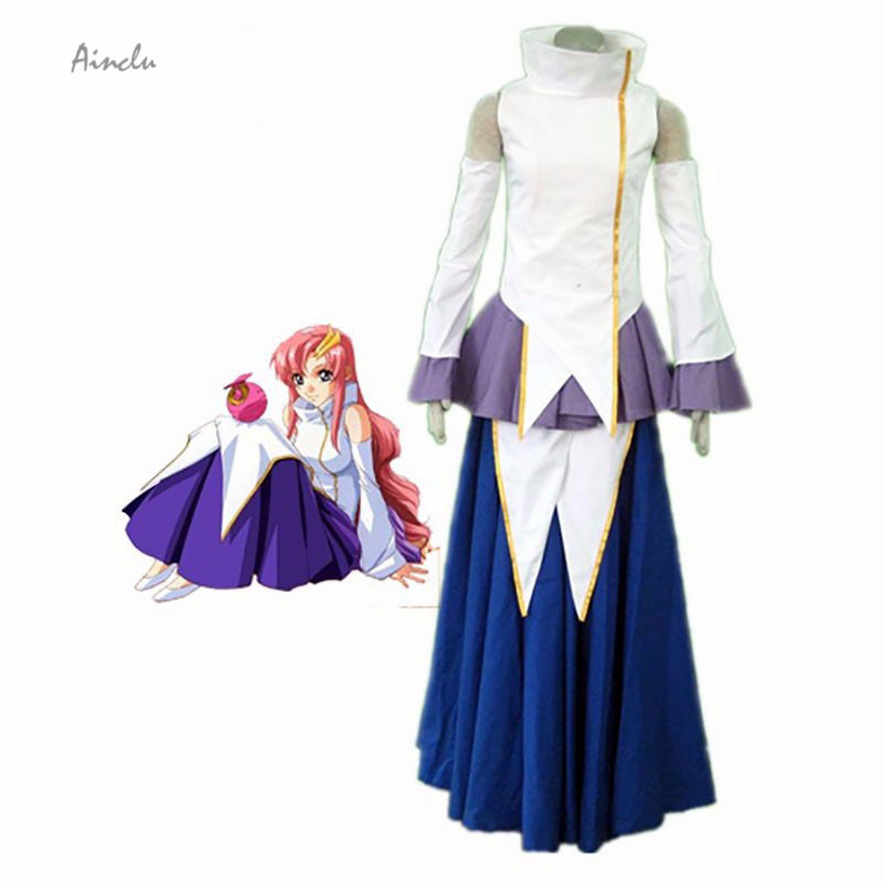 Ainclu Customize New Gundam Seed Lacus Clyne 1th Cotton Polyester Manga Cosplay Brand Costumes Multi Color White Purple Blue