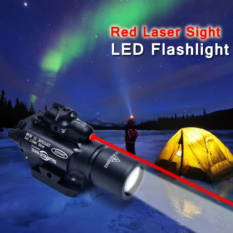 Surefire X400 Handgun LED Weapon Flashlight With Red Laser Sight For Rifle Scope Hunting Flashlight Night Riflescope package mail 2w200 20 n c 2 way 3 4 gas water pneumatic electric solenoid valve water air dc12v 24v ac110v 220v