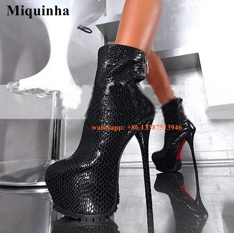 Women Sexy New Fashion Round Toe Snake Leather High Platform Ankle Boots Stiletto Heel Short Boots Thin Heel Evening Shoes 4 colors round toe charm high heel genuine leather platform martin ankle boots fashion western high quality short womne boots