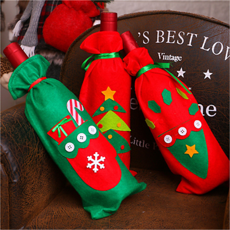New Merry Christmas Santa Wine Bottle Bag Cover Xmas Dinner Party Table Decor Christmas  ...