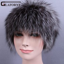 Glaforny 2017 трикотажные Silver Fox Мех Шапки Для женщин теплые Натуральный мех шапочки На зимнем меху шапки с шерстяной для русский женский