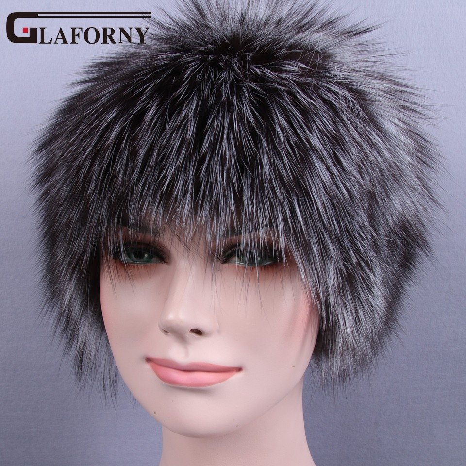 Glaforny 2018 Knitted Silver Fox Fur Hats Women Warm Real Fur Beanies Winter Fur Caps with Woolen for Russian Female kids real fox fur pom poms hats child winter knitted beanies big pompom hats boys girls child warm caps good quality 1pc h029