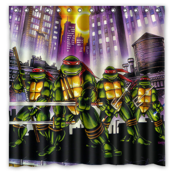 Teenage Mutant Ninja Turtles Waterproof Fabric Bath Shower Curtain  Mildewproof Polyester Bathroom Curtains with Hooks 72