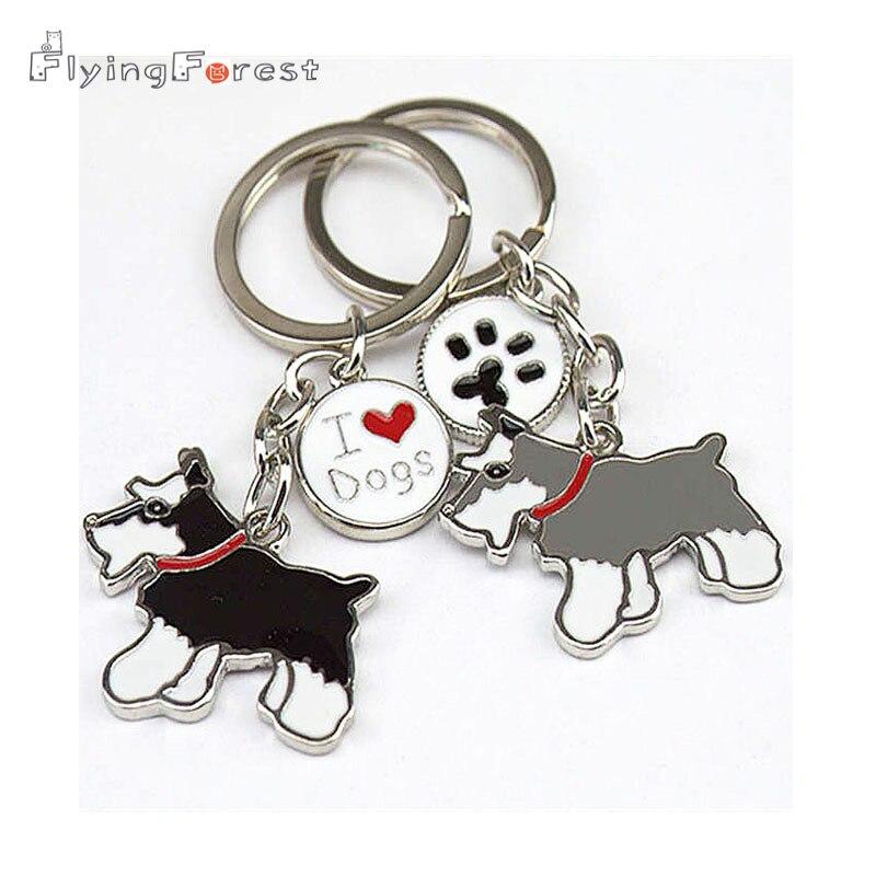 Key Chain Schnauzer Dogs Keychain DIY Bag Charm Pendants Metal Car Key Ring Gift Keychains Woman Key Buckle Tag Key
