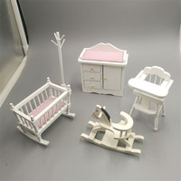 1:12 dollhouse miniature baby room Crib white wooden chair kids dolls furniture set cute house play toys girls gifts