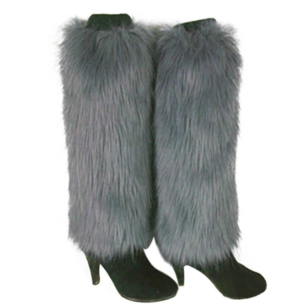 Зимние женские гетры, однотонные Чехлы для обуви из искусственного меха, женские меховые модные гетры, женские вязаные крючком