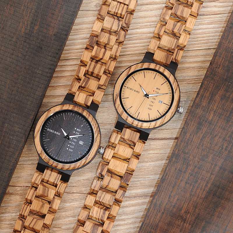 BOBO BIRD WO26 Zebra Wood Watch for Men with Week Display Date Quartz Watches Classic Two-tone Wooden Drop Shipping