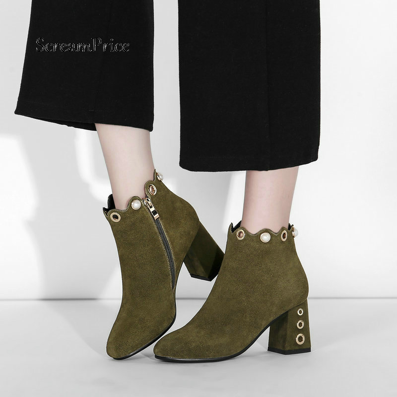 New Suede Square High Heel String Bead Woman Ankle Boots Fashion Side Zipper Dress Ladies Boots Black Army Green