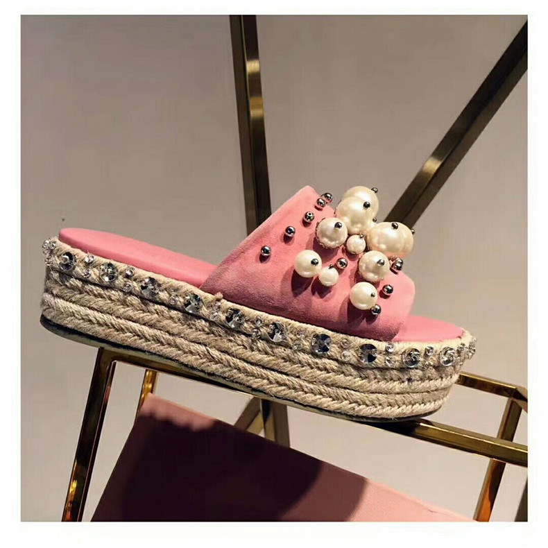 Sestito 2018 New Arrivals Girls Pearl Embellished Pink Summer Slides Ladies Peep Toe High Platform Slingback Shoes Woman Flats pearl embellished solid tee