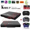 S912 KM8 P Caixa de TV Android 6.0 Amlogic Octa Core H.265 4 K 1 GB/8 GB WiFi KM8P Kodi 17.0 1080 P IPTV Media Player i8 Teclado Retroiluminado