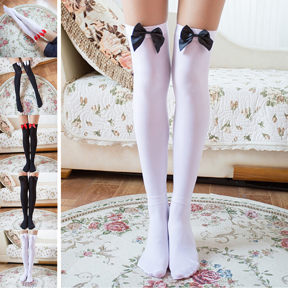 Fashion Women Stretch Over Knee Bowknot Thigh High Stockings Cute Bow Lace Thin Stockings Solid Cotton Stockings