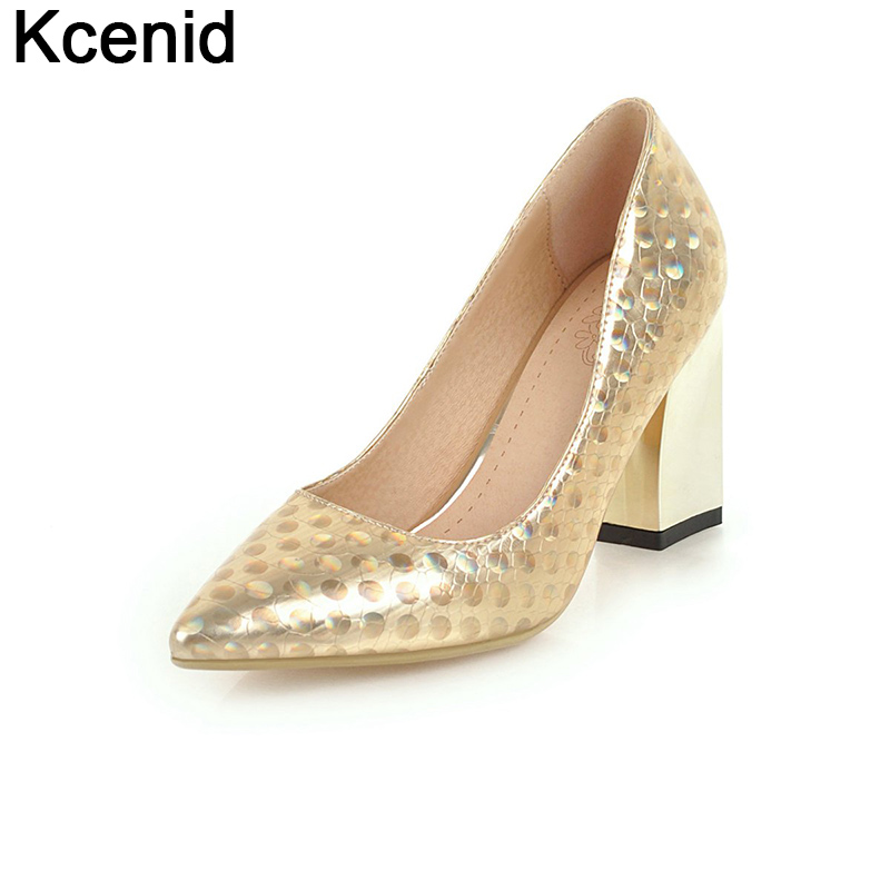 Kcenid Fashion gold bling women s elegant shoes 2018 new snake print  pointed toe shallow high heels ebf02ba527aa