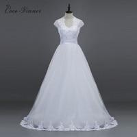 CV Kurzarm V-ausschnitt a-linie Tüll Hochzeitskleid perlen Spitze Appliques Weiß Maß Brauthochzeitskleider China W0028