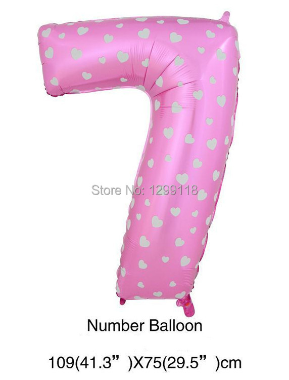 40 inch large pink blue dot number foil balloons digatal 7
