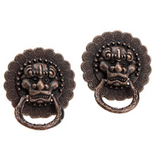 2Pcs Antique Brass Furniture Cabinet Knobs and Handles Vintage Bronze Door Ring Knob Jewelry Wooden Box Pull 24x19mm