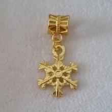 Free Shipping 1PC Gold Snowflake Cham Dangles Beads Fit European Pandora Charm Bracelet Jewelry DIY Metal
