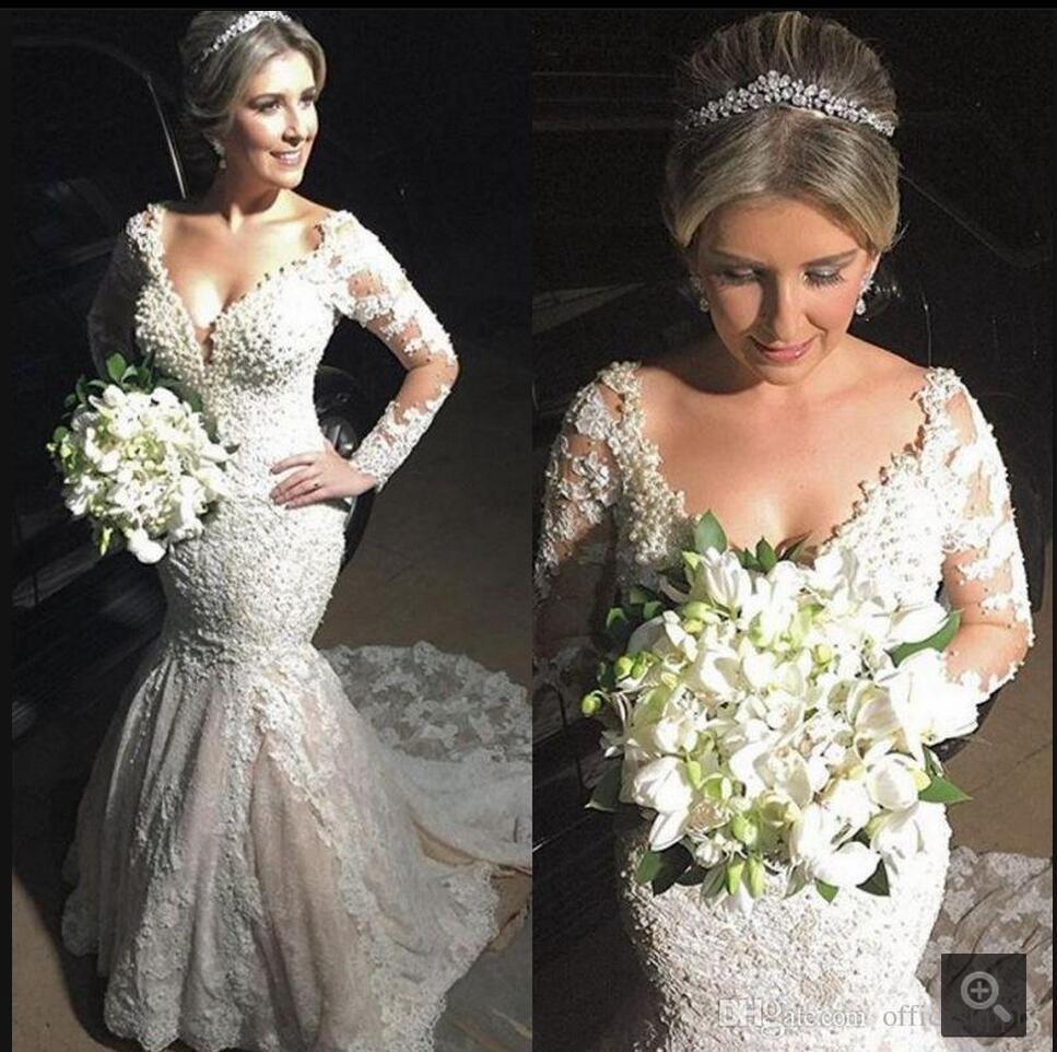 Champagne Color Wedding Dresses Vestidos De Noiva 2017: Sexy White Champagne Lace Mermaid V Neck Wedding Dress