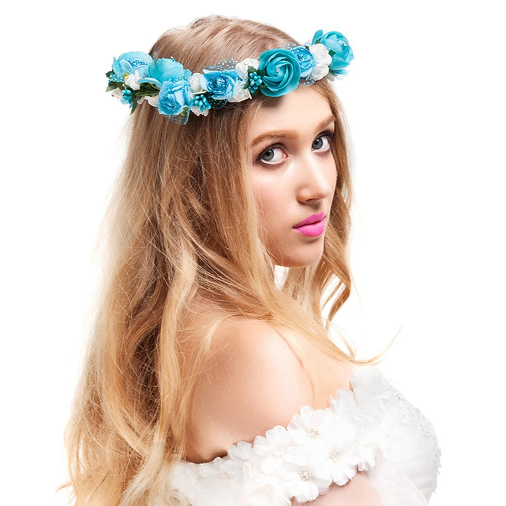 2016 new handmade girl rose flower wreath headband women floral 2016 new handmade girl rose flower wreath headband women floral crown halo for wedding festivals rose flower garlands for party in hair accessories from izmirmasajfo Image collections