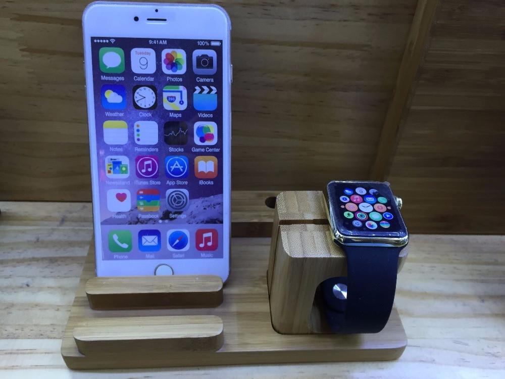 LYBALL Naturalne drewno Stojak biurkowy Bambusowy drewniany uchwyt - Części i akcesoria do telefonów komórkowych i smartfonów - Zdjęcie 4