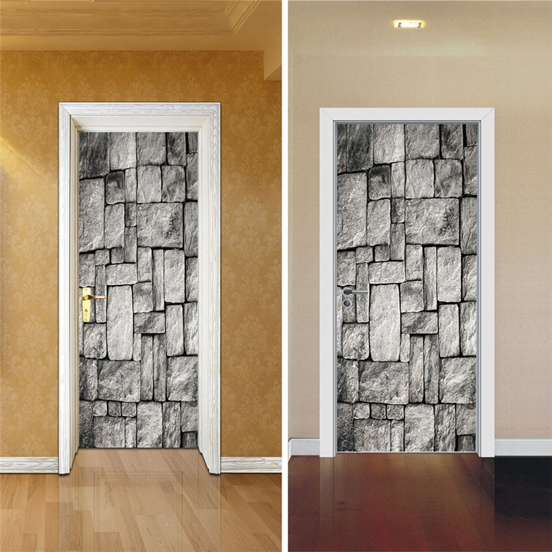 2 sheet pcs 3d wall door stickers diy brick wall wall for Brick wall mural decal