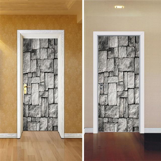 2 Sheet Pcs 3d Wall Door Stickers Diy Brick Wall Wall Mural Poster