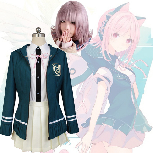 HOT! Super DanganRonpa 2 Chiaki Nanami Cosplay Costumes Jacket Shirt Skirt  Tie Custom Made For Women Girls Halloween Fancy Dress