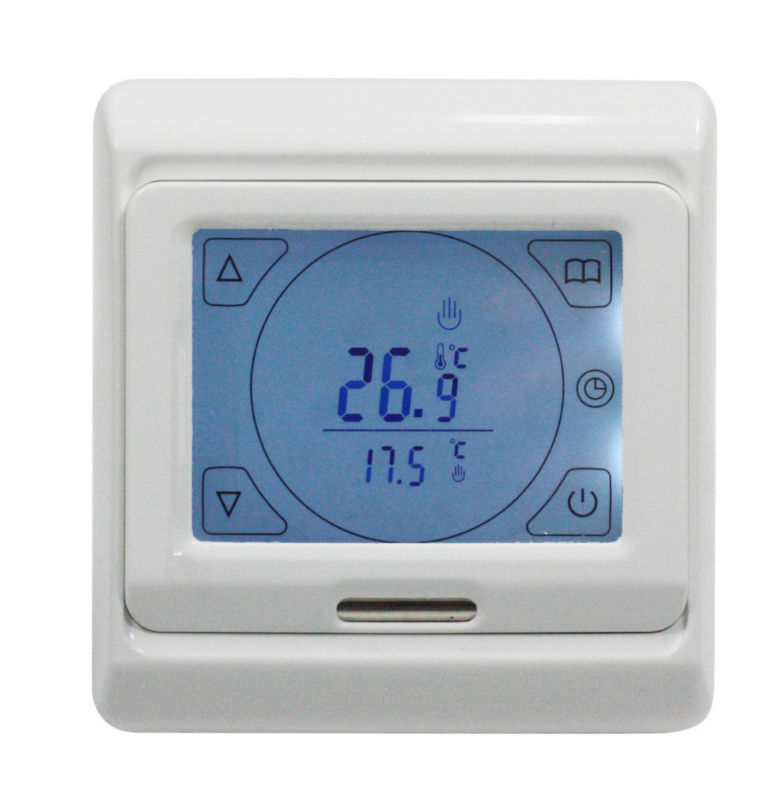 AC220V 16A Touch screen Programable Thermostat, floor heating thermostat with external NTC thermistor sensor