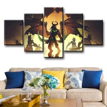 5 Piece World of Demon DOTA2 Modern Decorative Terrorblade Video Game Poster And Prints HD Drawing Oil Painting Canvas Art