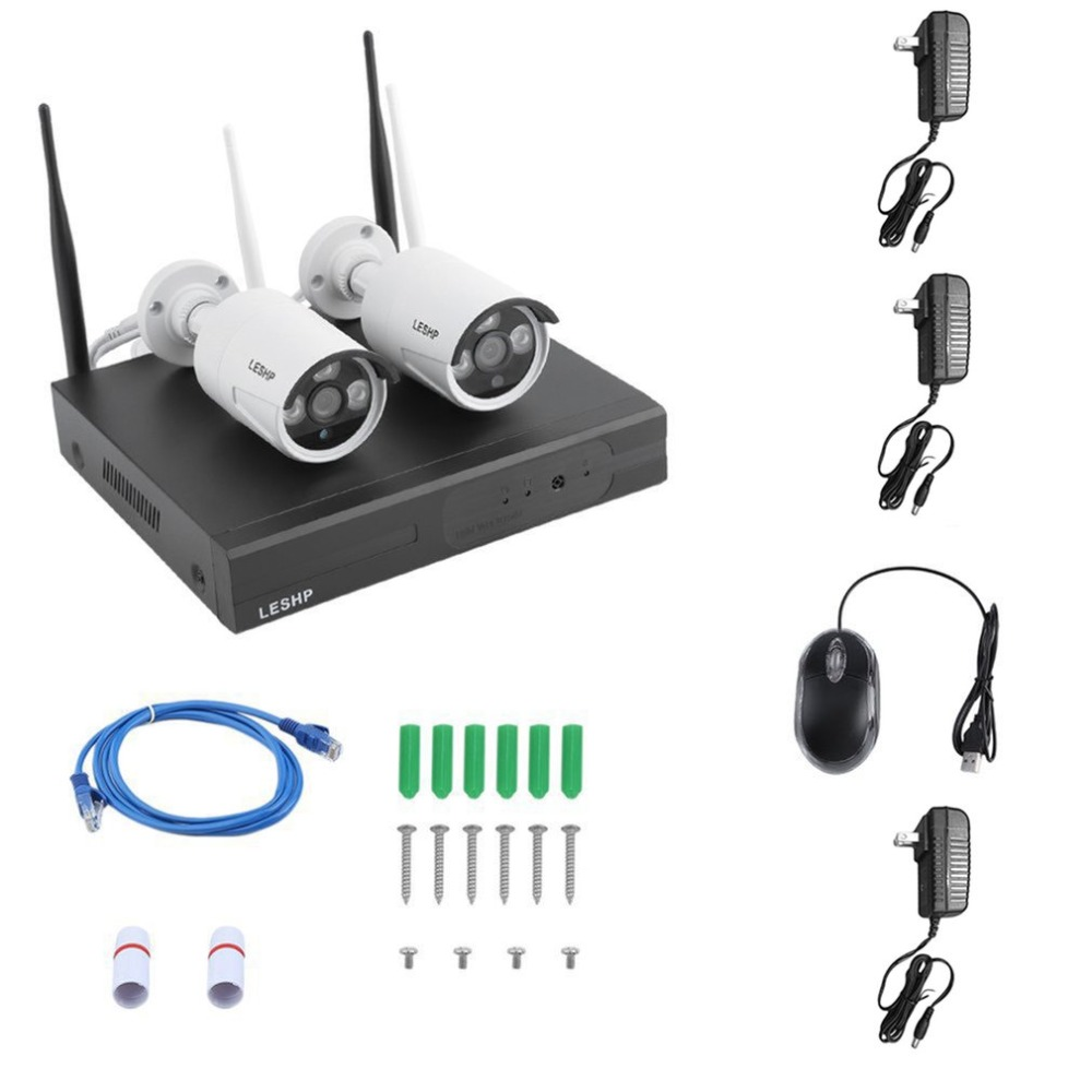 4-CHANNEL WLAN HD Full Set Surveillance Kit Video Surveillance FUNK IP Camera