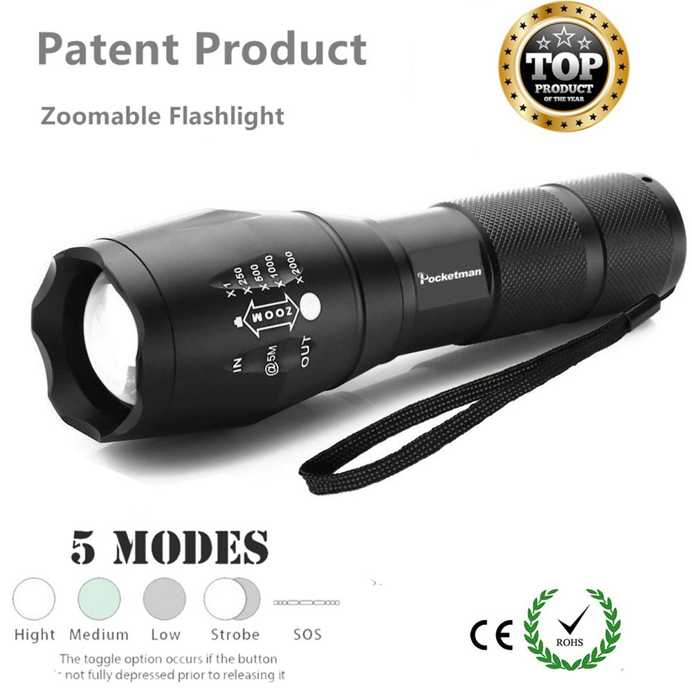high quality led flashlight zoomable 5modes torch xml t6. Black Bedroom Furniture Sets. Home Design Ideas