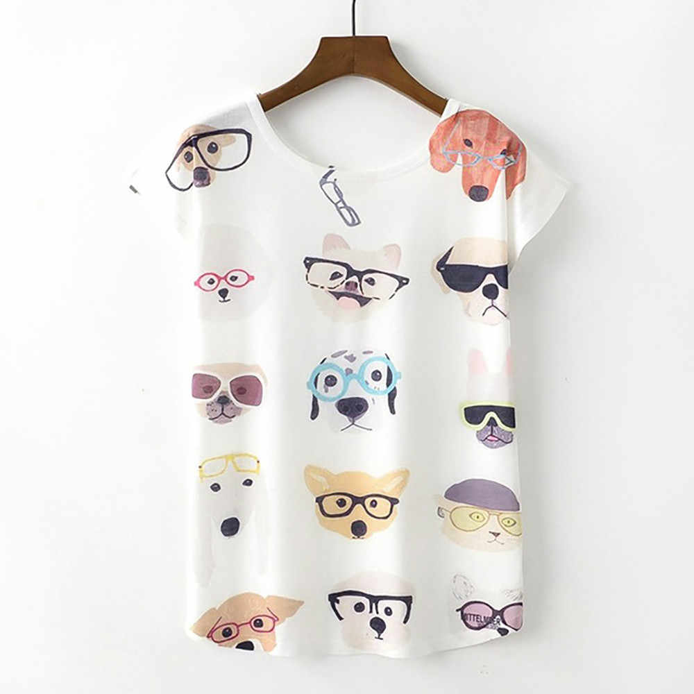 Women Tees Shirt Dog Print Summer Cute Top For Girl Cotton T-shirt Funny T Shirts  Roupas Feminina Dropshipping #815